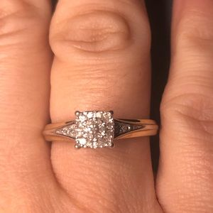 Real diamond and sterling ring